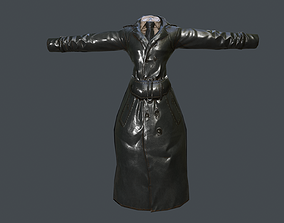 Long Leather Coat Closed Black Low-poly 3D model