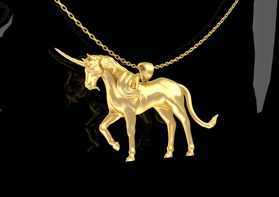 Unicorn Sculpture Pendant Jewelry Gold 3D print model