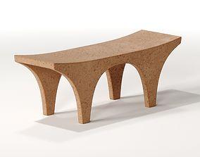 Concrete Arc Curved Bench 3D model