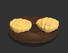Butter Wood Plate 3D asset