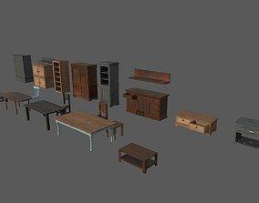 3D asset Old Living Furniture