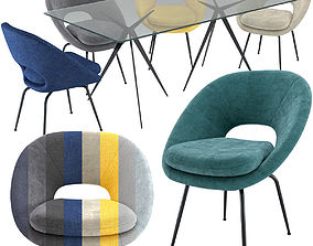 3D West Elm Orb Dining Chair and Astra Dining Table