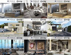 Set 4 - VRay C4D - 8 x Interior and Exterior 3D model
