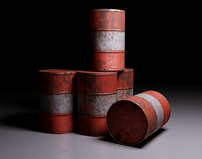 3D asset Colorful well-worn barrels