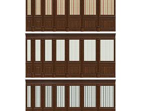 3D asset Wood panels with wallpaper 011