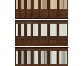 Wood panels with wallpaper 011 3D model