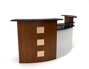 Retro Wooden Receptionist Desk 3D