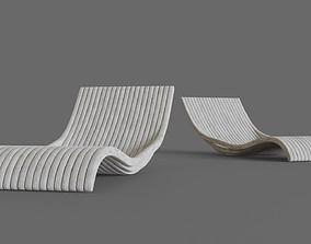 3D model White wooden lounger