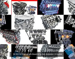 V6 V8 V12 Engines with Gasoline Ignition Animation 3D