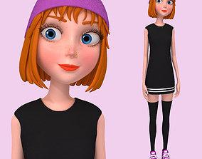 Cartoon Girl Rachel Rigged 3D model