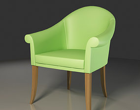 3D model Peanut Green Leather Club Chair
