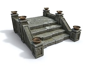 3D asset realtime Stairs with fire