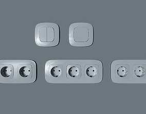 3D model Legrand electrical power socket and switches