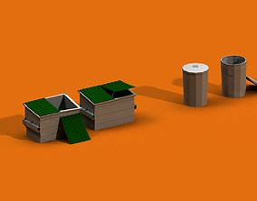 Post Apocalyptic Garbage Bin and Can 3D model