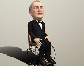 animated Franklin Delano Roosevelt stylized rigged 1
