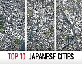 3D model Top 10 Japanese Cities