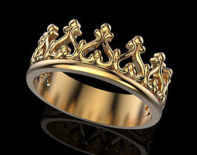 Crown ring 3 plus many sizes 3D printable model