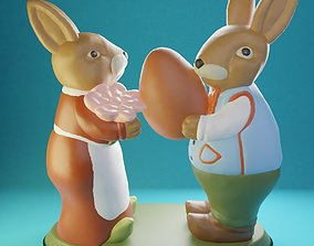 3D printable model Easter Bunnies Robert and Martha