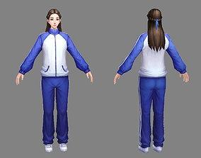 3D asset Cartoon schoolgirl