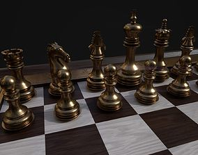 bishop 3D model Chess set and board
