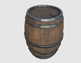 Wood barrel 3D asset game-ready
