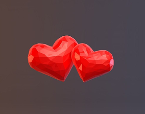 3D model Low Poly Hearts