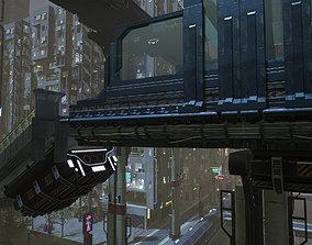 3D model Cyberpunk Modular Bridge Game Ready