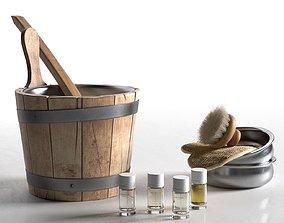 Sauna Bucket with Bath Accessories 3D