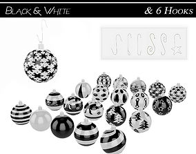 3D model Black and White Baubles Collection with Hooks