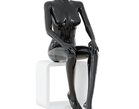 3D model Female black mannequin sits on a white stool 42