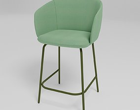 GRACE - Upholstered fabric low stool with armrests - 3D