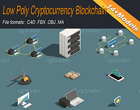 Low Poly Cryptocurrency Blockchain Pack 3D asset