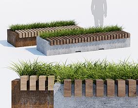 3D Big Green Benches