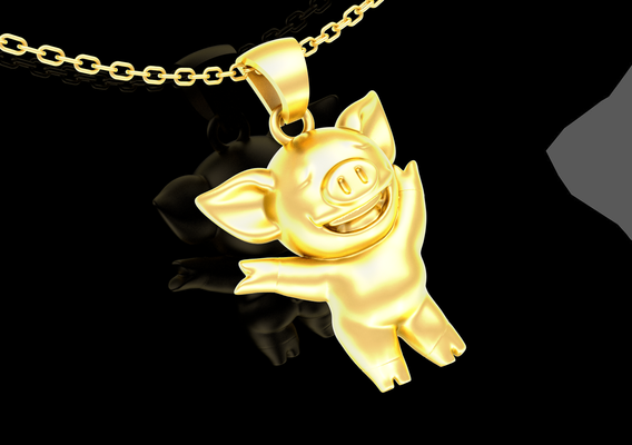 Lihkg Pig pendant jewelry gold necklace medallion 3D print model