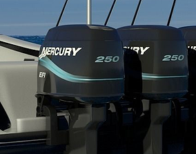 Fishing Boat Outboard Motor 3D model