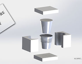 3D printable model dustbin with molds ready for
