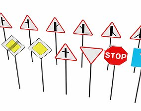 Priority traffic signs 3D asset