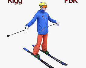 Skier 3D asset rigged