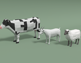 Low Poly Cartoon Domestic Animals Collection 3D model