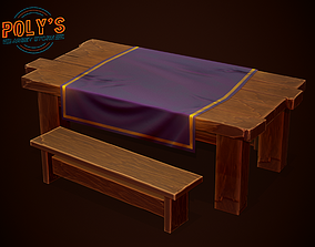 3D asset Table and Bench - Stylized Low Poly