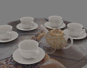 3D Low Poly Tea service