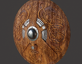 Serpent Viking Shield 3D asset