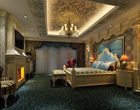 3D model European bedroom and American bedside corner