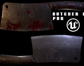 3D asset low-poly Butcher Knife meele weapon PBR