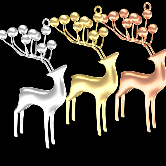 Deer Jewelry Pendant Gold 3D print model