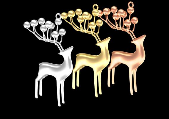 Deer Jewelry Pendant Gold 3D print model