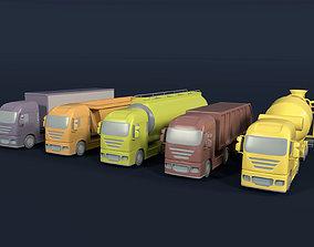 3D model Cartoon Truck Container - concrete mixer - tank -