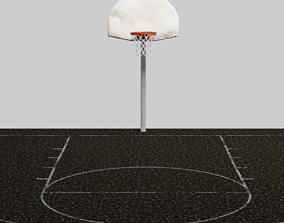 Low Poly Outdoor Basketball Court 3D asset