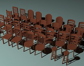 3D asset Wooden Chairs and Footstool