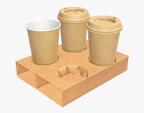 3D model Cups biodegradable with cardboard holder